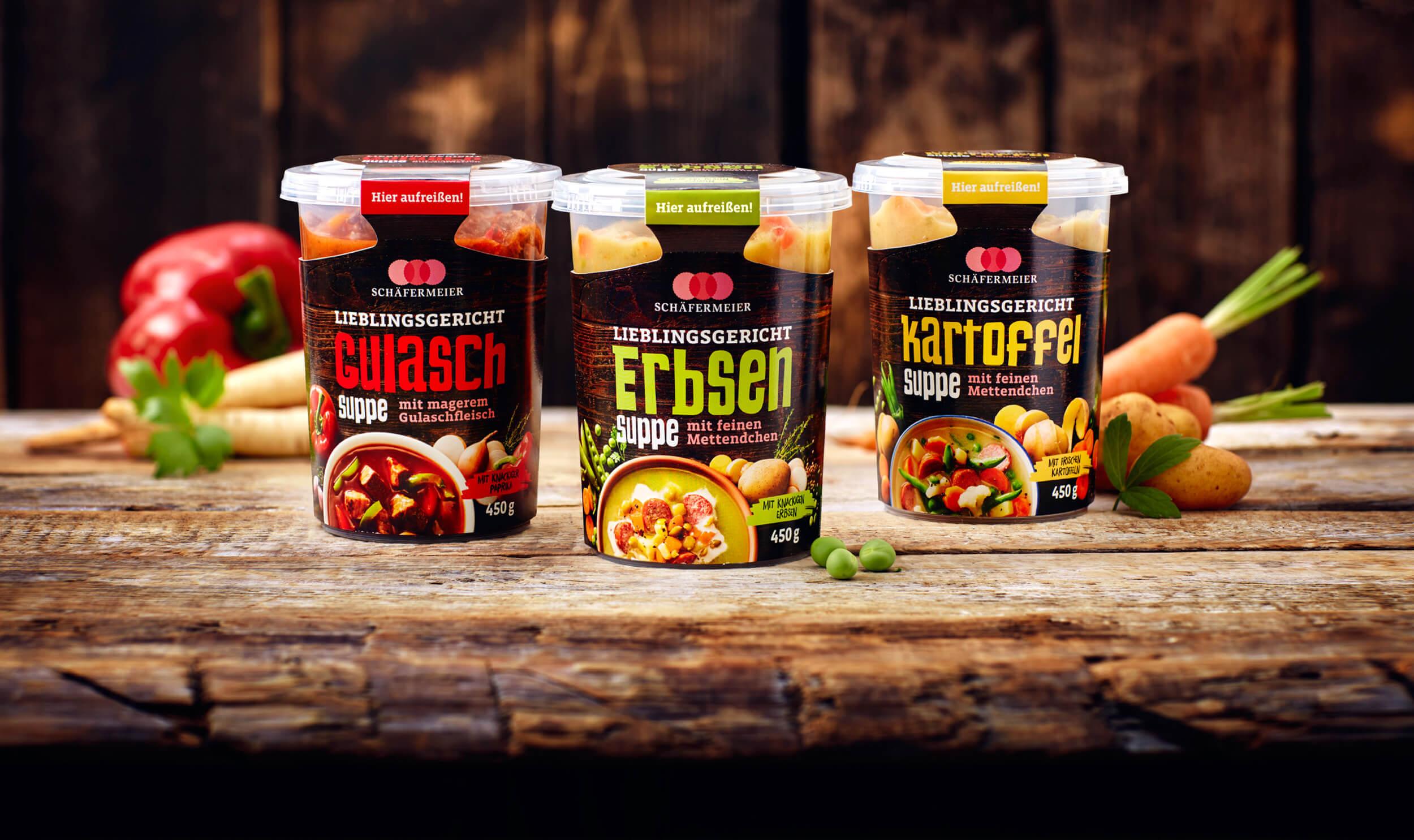 cyclos Schäfermeier Suppen Gulasch Erbsen Kartoffel Suppe Packaging design