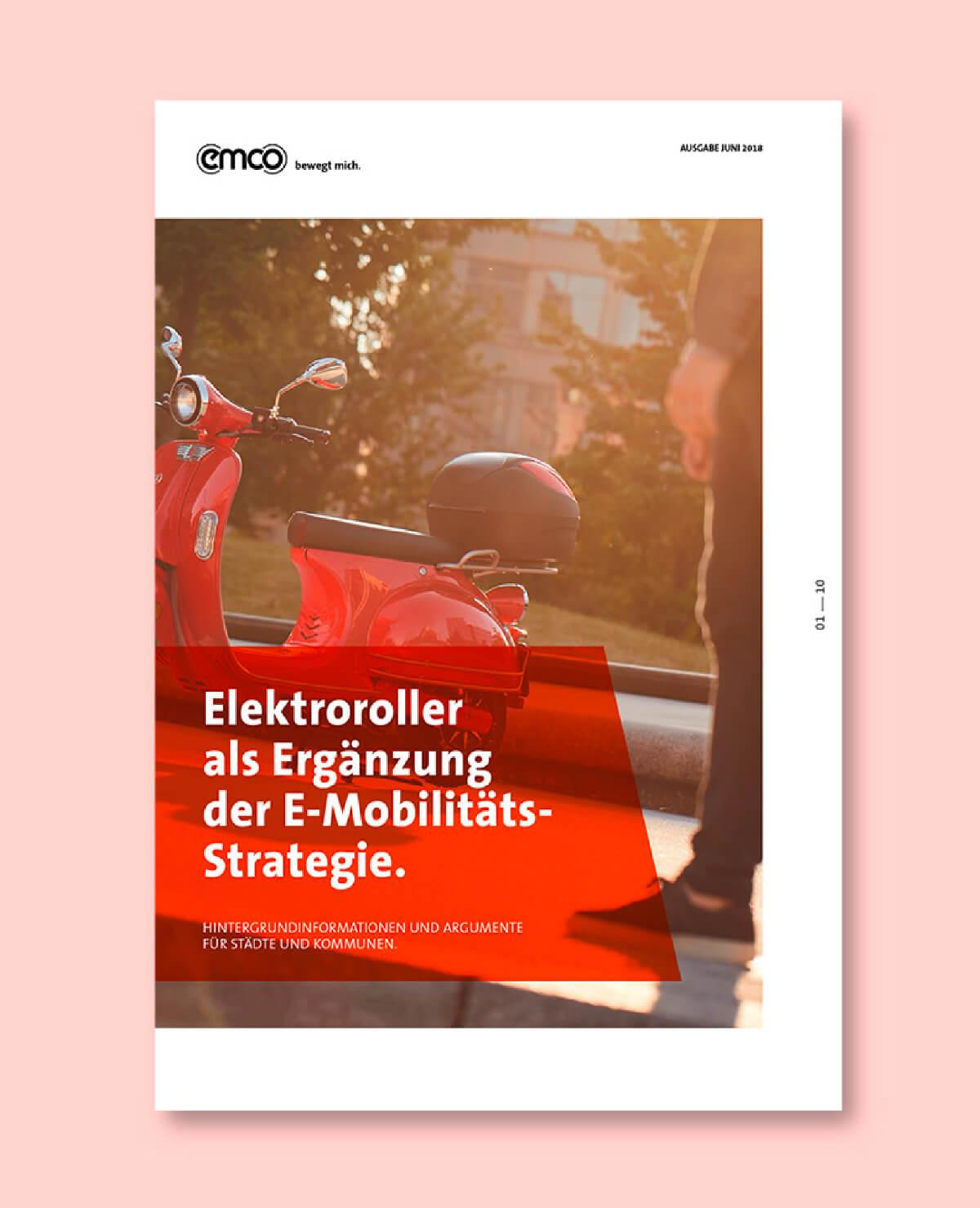 cyclos emco elektroroller broschüre stadt elektro marketing grün marketingkonzept