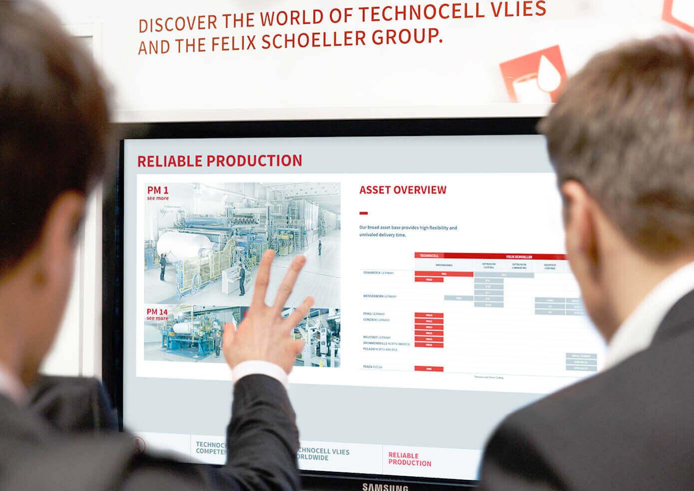 cyclos technocell vlies messe bildschirm screen B2B Marketing Werbeagentur