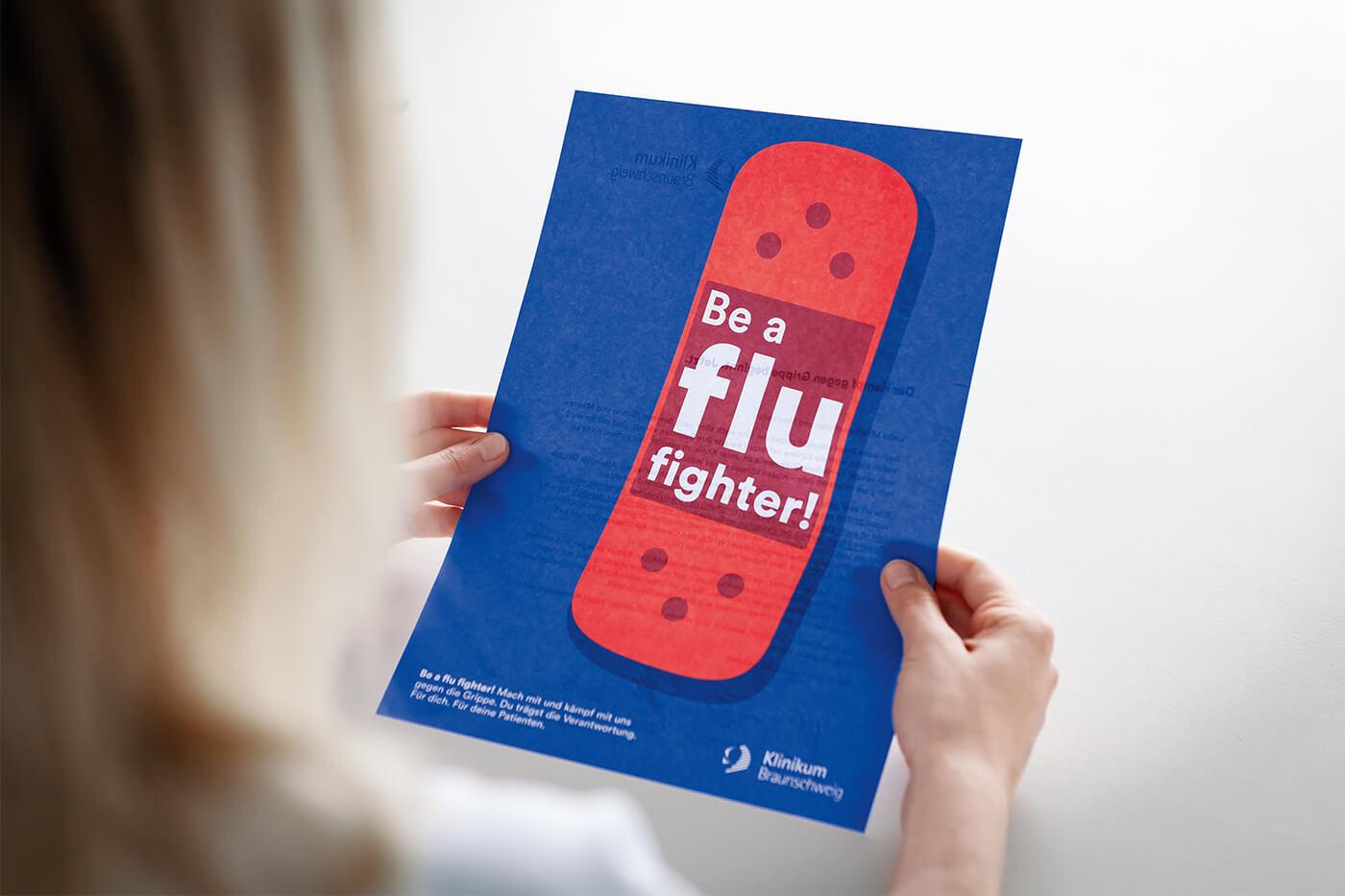 cyclos klinikum braunschweig kampagne flu fighter handzettel