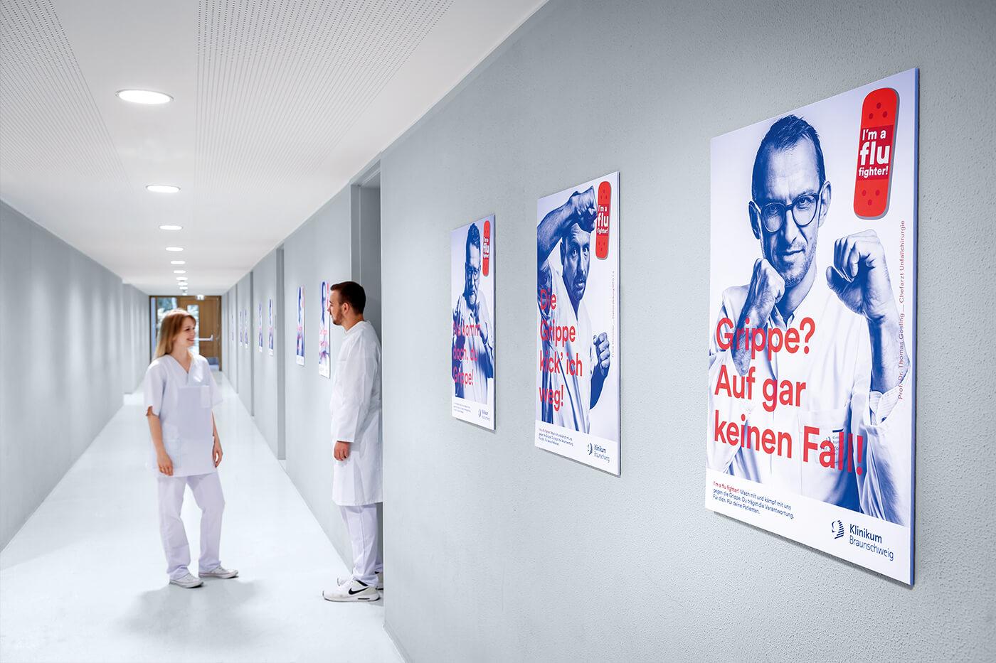 cyclos klinikum braunschweig kampagne flu fighter plakate