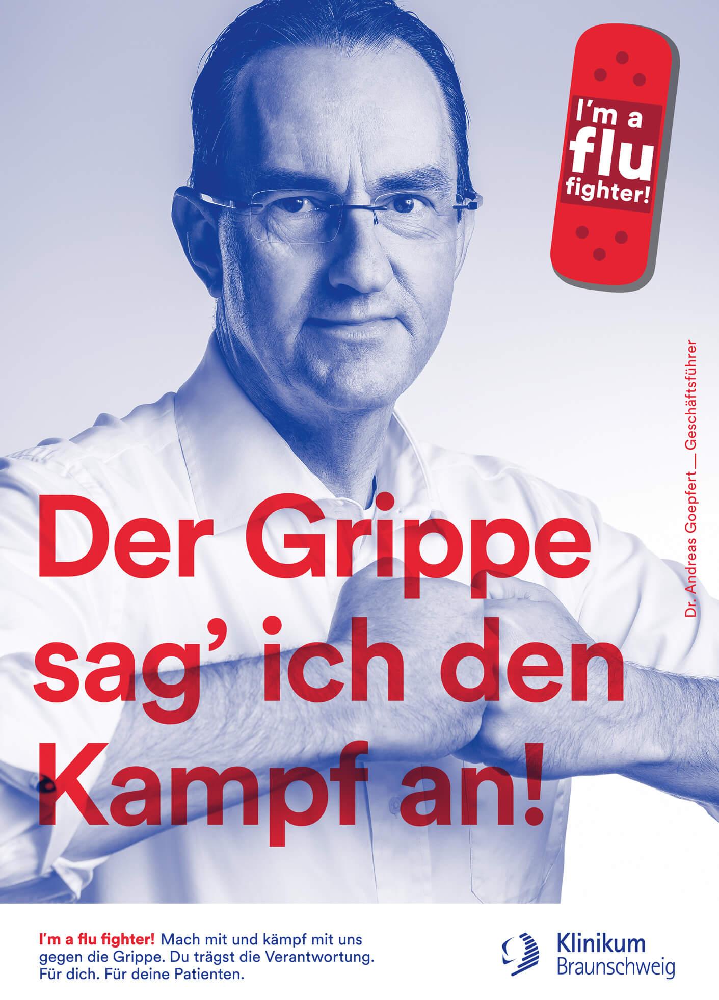 cyclos klinikum braunschweig kampagne flu fighter plakat marketing werbeagentur