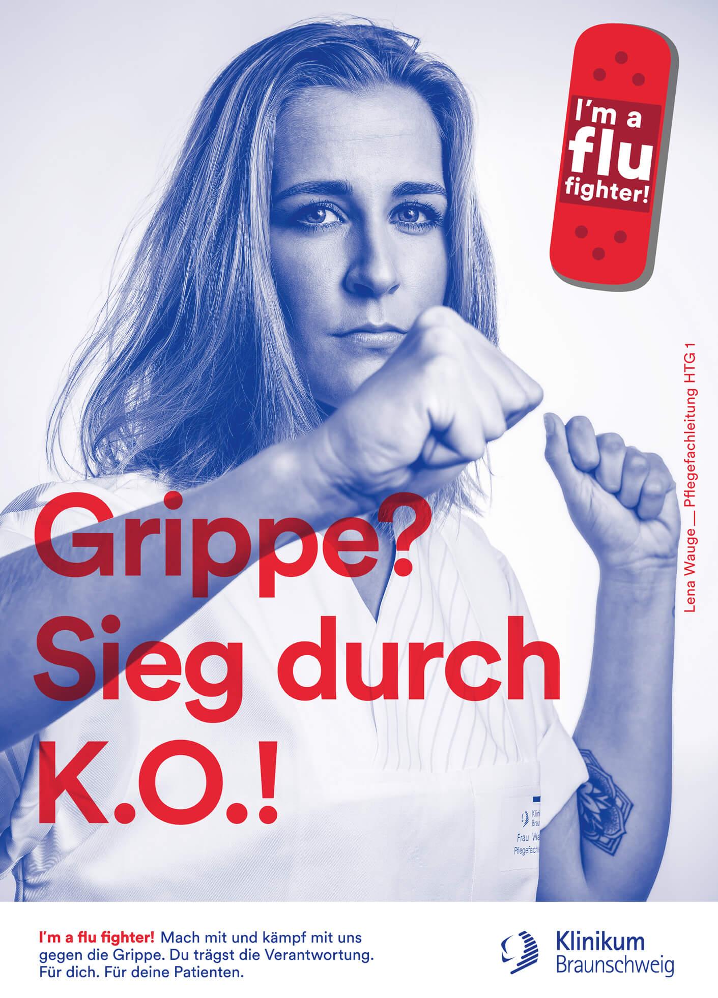 cyclos klinikum braunschweig kampagne flu fighter plakat Werbeagentur Marketing