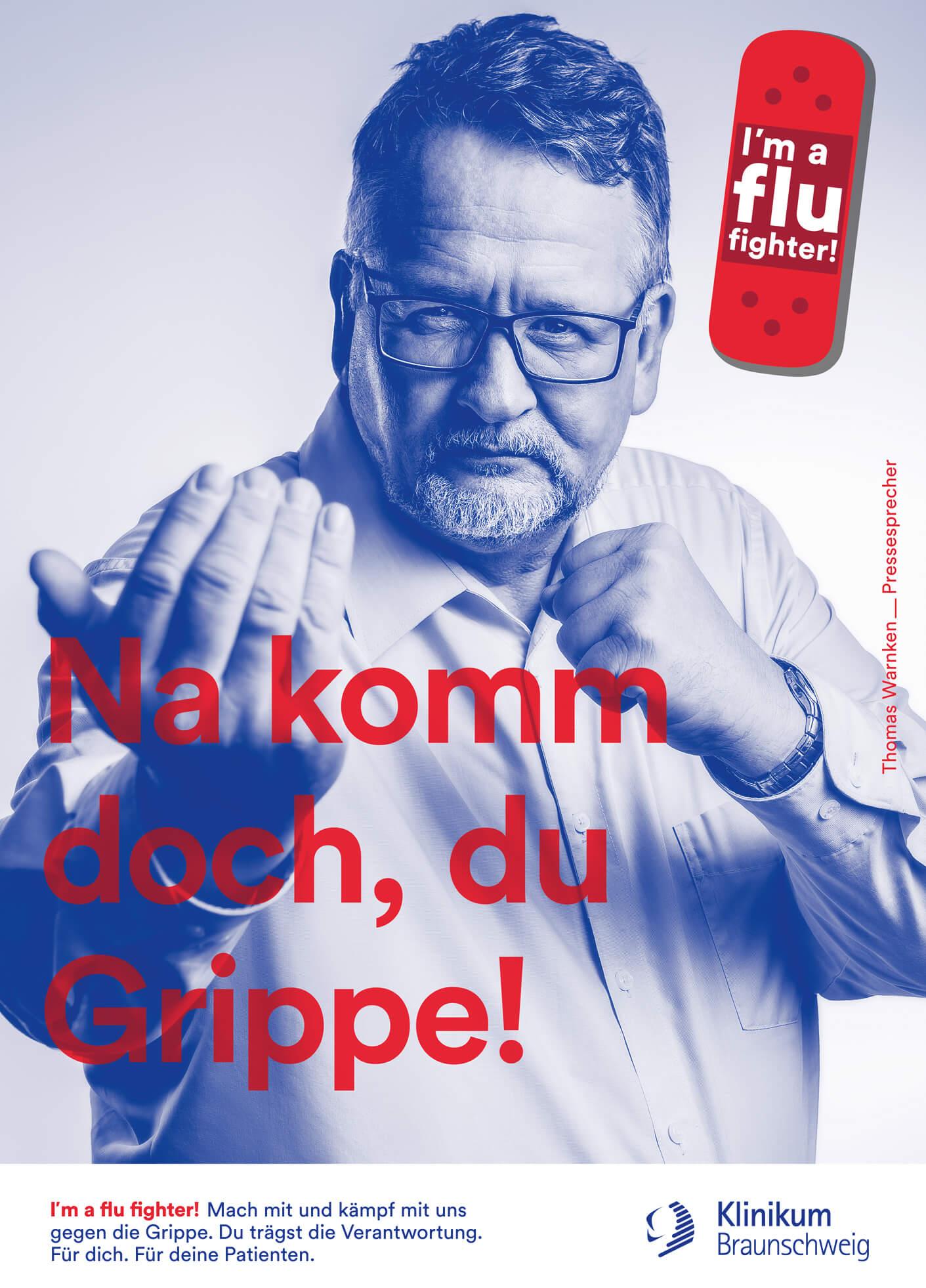 cyclos klinikum braunschweig kampagne flu fighter plakat Werbeagentur Marketing Klinikum