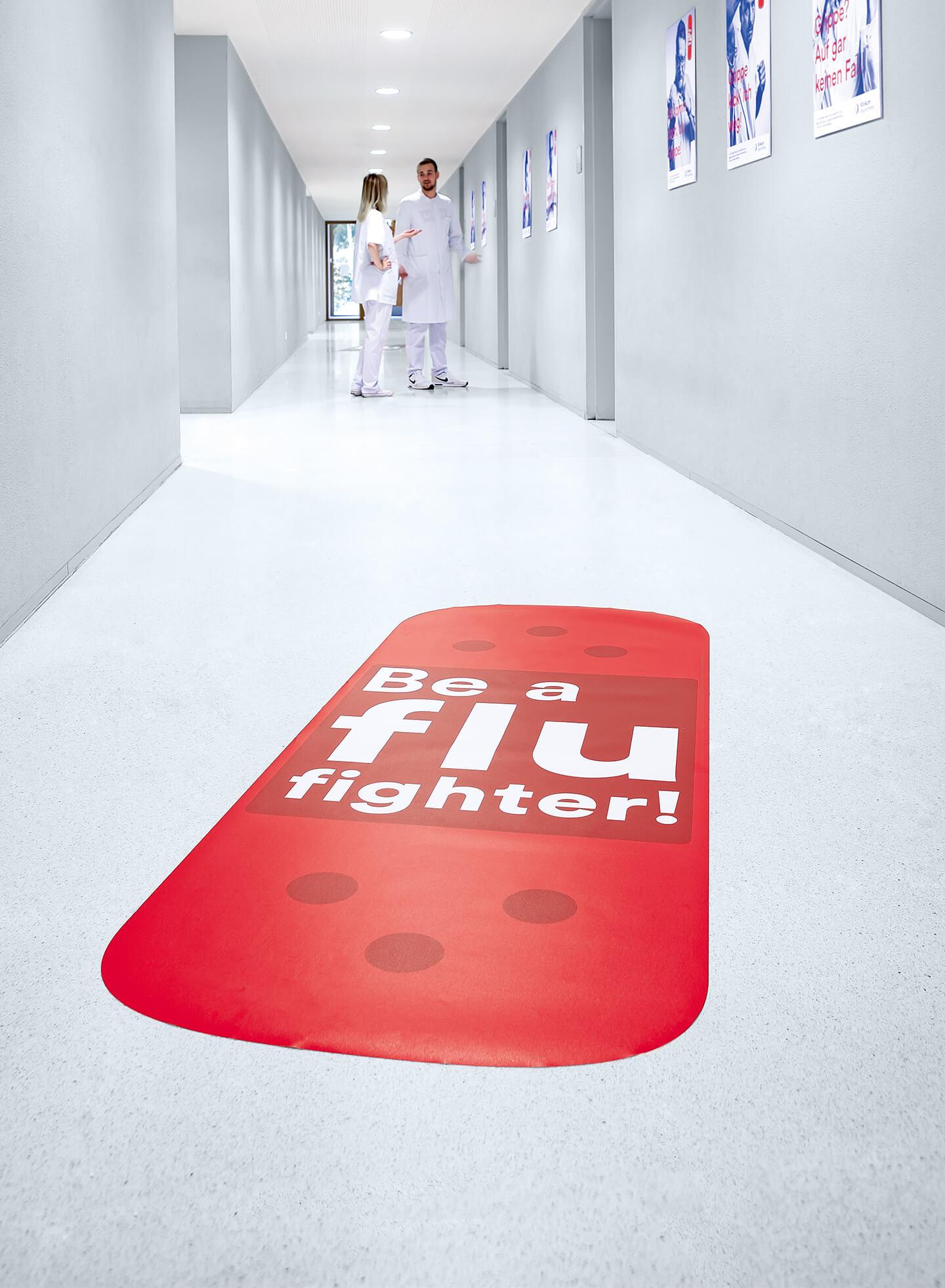 cyclos klinikum braunschweig kampagne flu fighter sticker